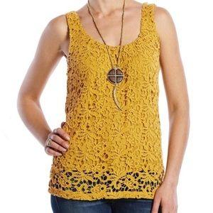 Lucky Brand Lace Mustard Yellow Cotton Tank